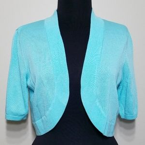 Worthington Turquoise Short Sleeve Shrug Sweater L